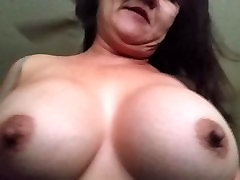 Asian real granma son bounce while riding