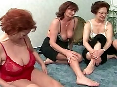 Playful grannies suck in turns