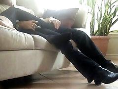 Sexy girl teases guy with nylon feet