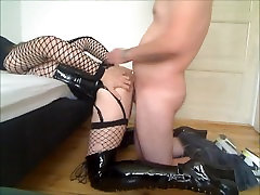 Sissy playboys girlfriend in long boots and corset fucked in the ass by stranger