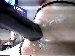 Big Black Cock mounted on vibrator tied to panyies MACHINE mounts 18 yr.old TEENS ASSHOLE