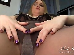 Miss Noel posing in touching secretary ass sexy suntan pantyhose and shows off her sheer