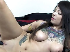 Tattooed Babe Fucks Pussy CLOSE UP with Toy