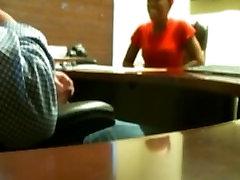 Beautiful ebony teen sucks my dick in the office