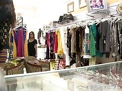 Women watch men jerk off in clothes shop