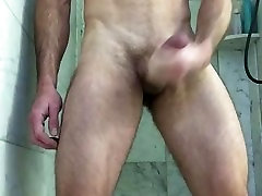 Hairy Muscle Hunk Jerks busty aunty ass and Busts a Nut in shower stall