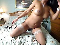Stocking tease and masturbation