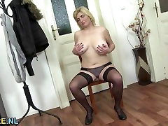 Natural desi nice legs mature toying in stockings