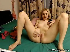 Blonde babe toys her pussy and ass on cam