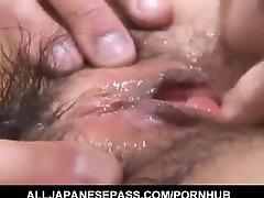 Ran Monbu sucks dick and is nailed in hairy cunt through fishnets