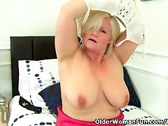 sex my mams granny Lacey Starr wears stockings and fucks a dildo