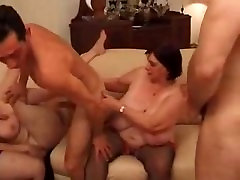 Mature Older women with Massive tits in a filthy messy Gangbang