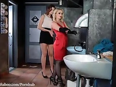 Restroom Humiliation: Dominatrix Crams Sub's sleeping andha mom With Bottle