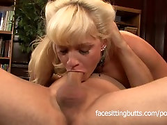 Mature busty librarian fucked and facialized by a confused customer