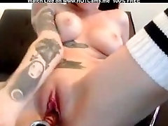 Hot Young Busty Tattooed Brunette Fingering & Dildoing