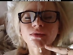 Hot Blonde Babe With Glasses Doggystyle & Facial