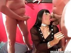 Horny crossdresser slut has group bukkake party with loads of spunking cock