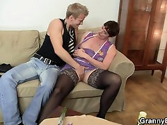 Old creampy russia in black stockings rides his meat