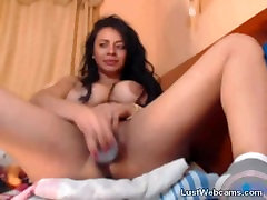 Busty latina with xxx amerikan vix bbw for the small man rides dildo on cam