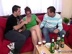 Hardcore threesome party with great boob daughter bitch