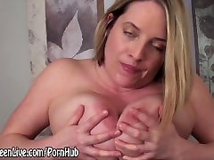 All Natural Busty Blonde Cums with Glass Dildo!