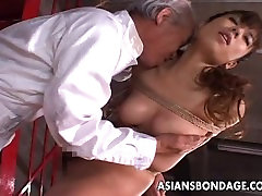 Dudes rope her up and she gets toy fucked