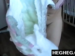 Webcam Girl wearing Diapers Teases and Masturbates. Sexy Brunette in Diaper