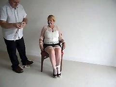 chair tied hijab armpit blonde
