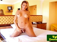Bigtitted tgirl jerking after showing body