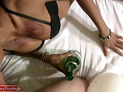 Bigtitted tranny gets thick cock inside her gaping stable feet hole
