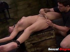 Spread bdsm slave clamped