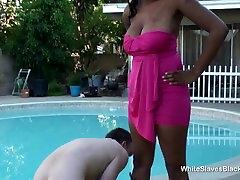 Ebony beauty got white slave