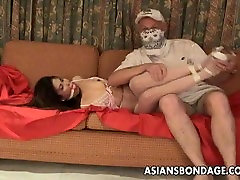 Asian slut is getting roped up and treated to a schoolgirl molested on train session