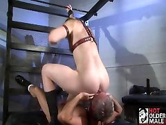 Leather Daddy and Boy Fuck at the Club