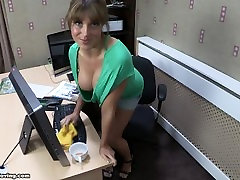 Sexy brunette milf Talias boobs falling out of her shirt! wow downblouse 1
