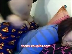 young teens have fun in bed