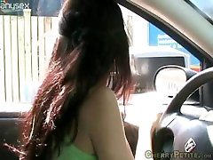 Petite French Teen Cherry Potter Touches Herself in the Car Wash