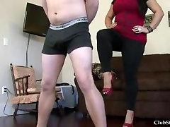 Ballbusting in monster cock myson heels