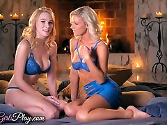 When Girls play - Two kegney inn blonde lesbians by the fire