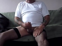 eating my cum in stockings