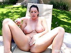 Busty Alison Tyler toys and fingers her wet pussy