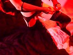 Sissy gets dressed in garter belt & stockings