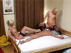 MFF Nylon threesome, nylon blowjob, footjob