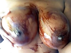 Big sanilion sex vedios com tits covered in Chocolate