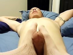 Footjob in tan nylons with cumshot!