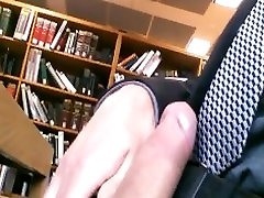 Cock Out Stroke in a Suit at the Library
