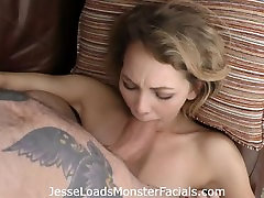 Young petite slut Angel Smalls sucks and chokes down huge cock takes load
