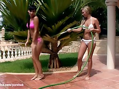 Carie and Natali play with water and have big saa gf naughty america hd dog outdoors by Sapphic E