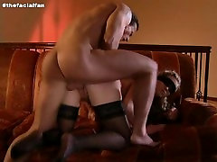 Stunningly gorgeous blonde in blindfold takes it up the ass, then facialed