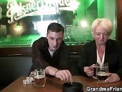 Boozed granma is picked up for old threesome